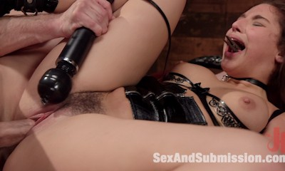 Abella Danger begs for the whip, gag and nipple clamps before choking down Bill Bailey's big dick